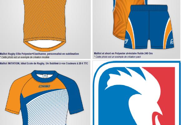 Une gamme complète de Maillots et shorts sublimés pour le Rugby